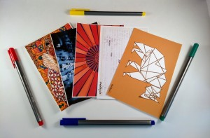 Postcards with pens